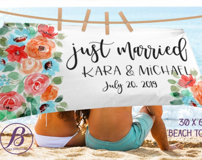 Floral Bride Beach Towel Just Married, Beach Towel, Bridesmaid Gift, Bride Gift, Engagement Party Decorations, Honeymoon GiftTowel