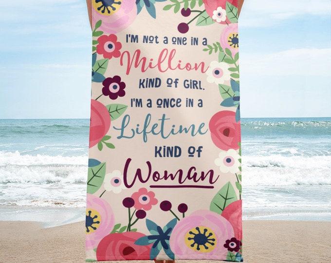 Wedding Gift, Feminine Towel, Floral Beach Towel, Floral Bath Towel, Bridesmaid Gift Beach Towel, Wedding Beach Towel, Wedding Favor, Towels