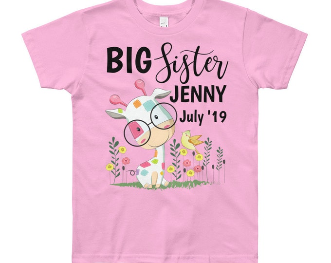 Featured listing image: Personalized Big Sister Announcement T-Shirt - Big Sister Gift - Customized Sleeper - Custom Bodysuit - Promoted to Big Sister