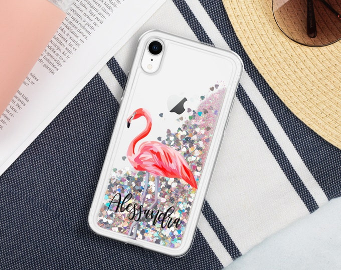 Personalized iPhone Cases Flamingo Custom Name Liquid Glitter Phone Case