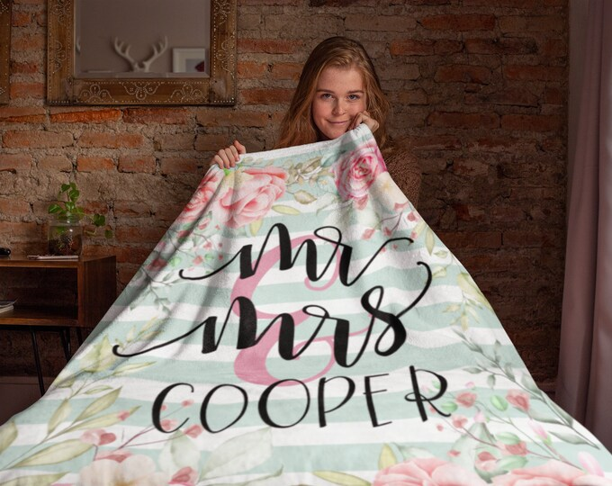 Personalized Wedding Blanket   Personalized Mr and Mrs Floral Throw Blanket   Personalized Blanket for Adults   Personalized Family Blanket