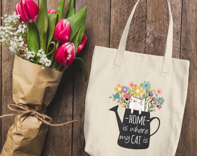 Home is Where My Cat Is Cotton Tote Bag | Natural Cotton Canvas Tote Bag | Cute Kitty Cat Tote Bag | Cute Floral Canvas Tote Bag | Cat Lover