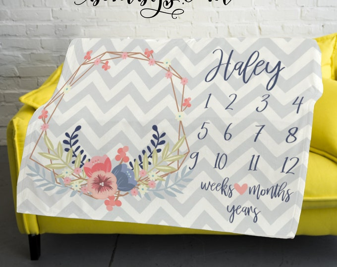 Milestone Blanket Monthly -Baby Month Wreath Milestone Blanket - Monthly Growth Tracker Baby Blanket - Baby Shower Gift