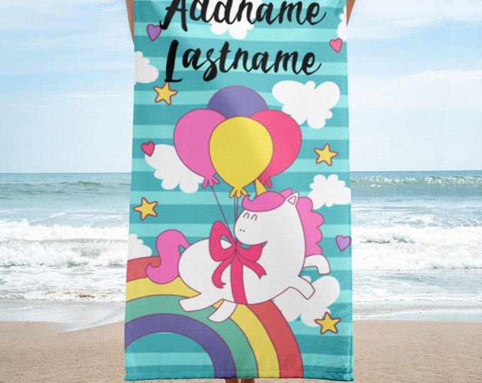 Personalized Unicorn - Cute Unicorn Beach Towel, Unicorn Clipart Towels, Beach Towels for Kids - Kids Bath Towel, Pool Towels for Kids