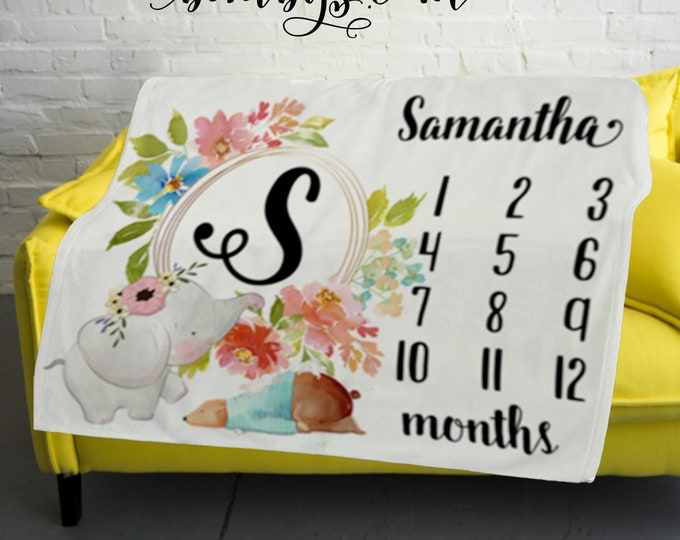 Personalized Monogram and Name Baby Milestone Blanket  -Baby Month Milestone Blanket, Monthly Growth Tracker Baby Blanket - Baby Shower Gift