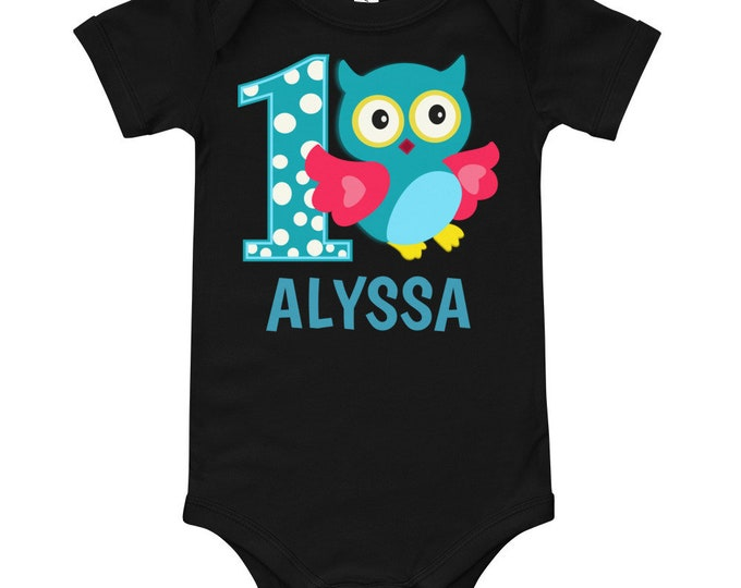 Custom Name Teal Owl First Birthday Owl | 1st birthday outfit | 1st birthday shirt, birthday outfit, first birthday shirt, 1st birthday gift