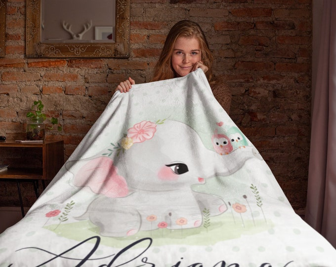 Cute Elephant with Polka Dots Custom Name Throw Blanket for Kids, Personalized Blanket | Animal Print Blanket | Woodland Custom Kids BLanket