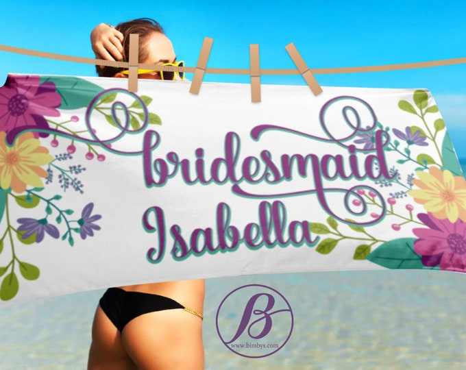 Beach TowelBridesmaid custom floral fancy script fonts beach towel - Personalized Bridesmaid Gift - bridesmaids gift - be my bridesmaid