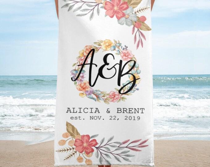 Beach Towels Personalized, Custom Beach Towel, Monogrammed Beach Towel, Floral Beach Towel, Beach Towel Monogram