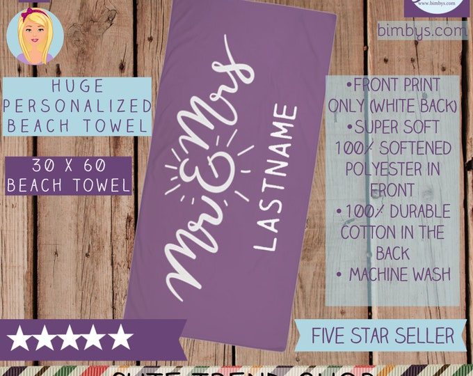 Beach TowelPersonalized Mr. and Mrs. Wedding Beach Towel - Custom Family Name Beach Towels - Monogrammed Bath Towels - Beach Wedding Towels