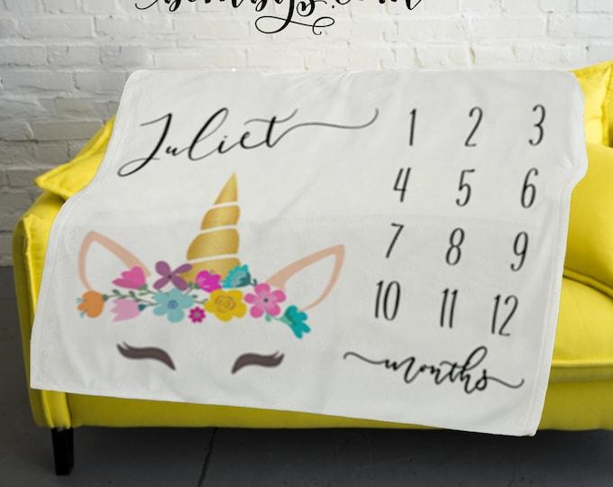 Unicorn Baby Milestone Blanket  -Baby Month Milestone Blanket - Monthly Growth Tracker Baby Blanket - Baby Shower Gift