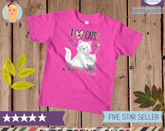 SALEcute cat shirt - I love cats kids t-shirt, cat kids t-shirt, cat shirt, funny cat shirt, cat lover gift, cat lover, cat tshirt