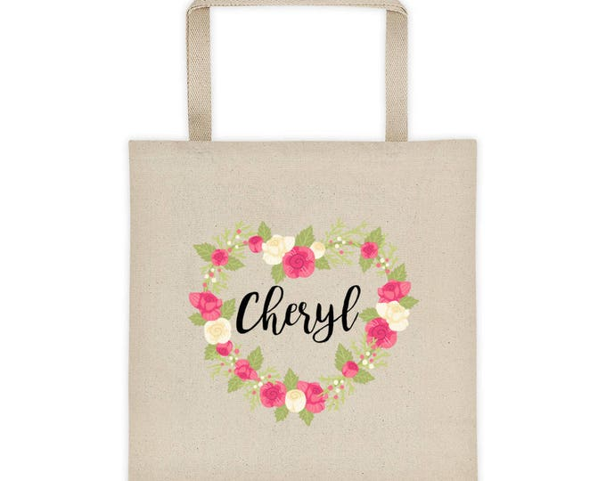 Floral Heart Personalize Name Tote bag | Personalized Tote Bag | Floral Tote Bag | Bridesmaid Tote Bag | Laurel Tote bag | Custom Tote bag
