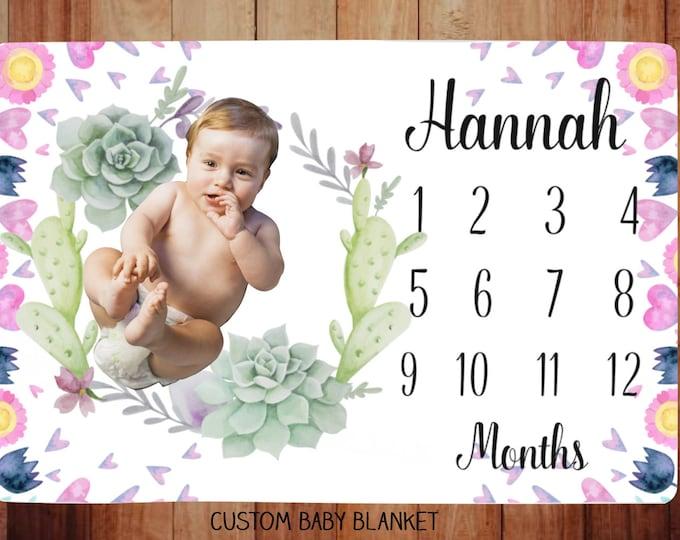Succulent Wreath Milestone Blanket Personalized - Wreath Milestone Blanket - Monthly Growth Tracker Baby Blanket - Baby Shower Gift