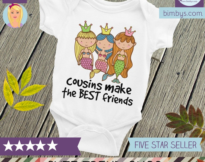 Cute Cousin Nappy, Mermaid Nappy, Cousins Shirt, Cousins, Cousins Best Friends, Cousins Baby Snapsuit, Cousins Shirts, Gifts for Cousins