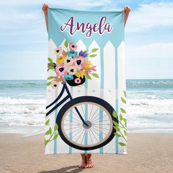 ON SALECustom personalized beach towel, flowers and bike beach towel, beach towel, personalized towel, monogram beach towel, beach towels
