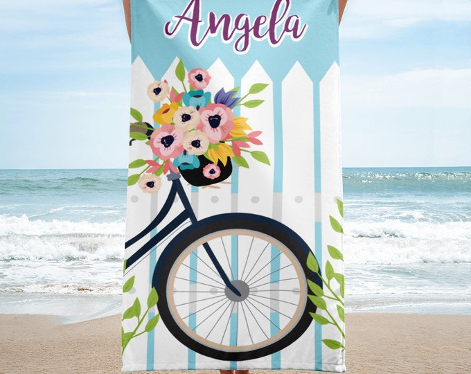 Custom personalized beach towel, flowers and bike beach towel, beach towel, personalized towel, monogram beach towel, beach towels
