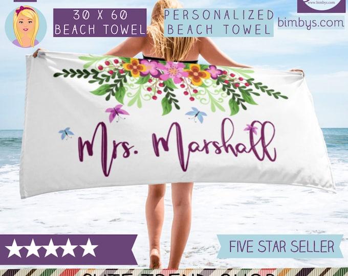 Custom Beach Towel - Monogram Beach Towel, Pool Towel, Bachelorette Party, Personalized Towel, Unique Wedding Gift , Personalized Name Towel