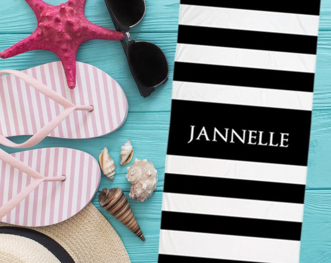 Black and White Stripes Personalized Name Beach Towel   Monogram beach towel , Personalized towel  large beach towel ,monogrammed towel