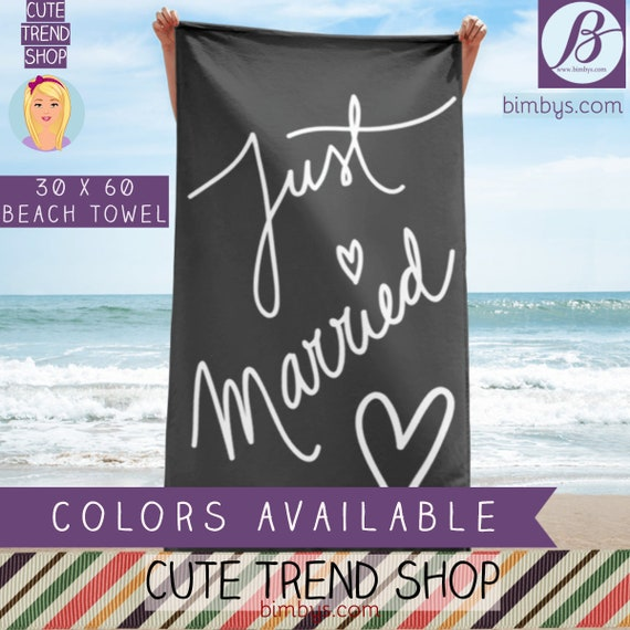 Just Married Beach Towel, Honeymoon Gifts, Just Married Sign, Wedding Gift, Married Couple - Wedding Photo Prop - Wedding Decor - Newlyweds