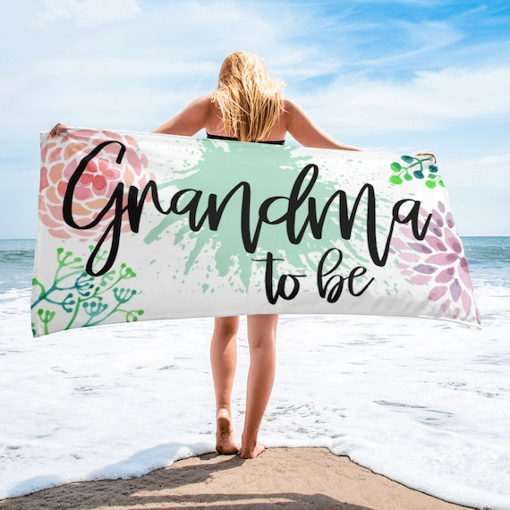 Pregnancy Announcement Grandparents - Grandma Pregnancy Announcement - Grandma Gift - Grandma to be Bech Towel - Baby Announcement Gifts