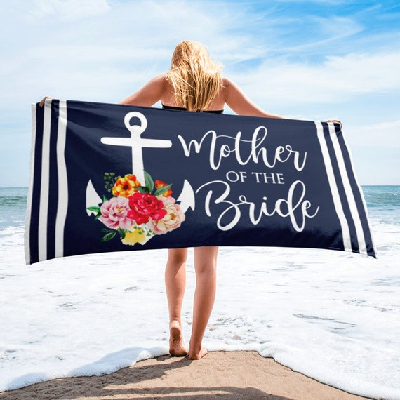 ON SALEMother of the Bride Beach Towel, Nautical Anchor Beach Towels, Mother of the Bride Gifts, Wedding Day, Bridal Party, Wedding Party