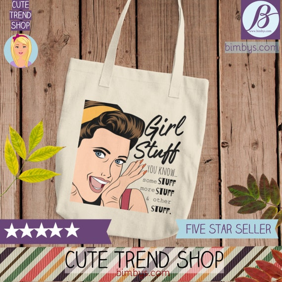 Girl Stuff Cotton Tote Bag - Cotton Canvas Tote Shopping Bag   Cute Practical Bag for Girls   Women's Reusable Tote Bag   Funny Tote bags