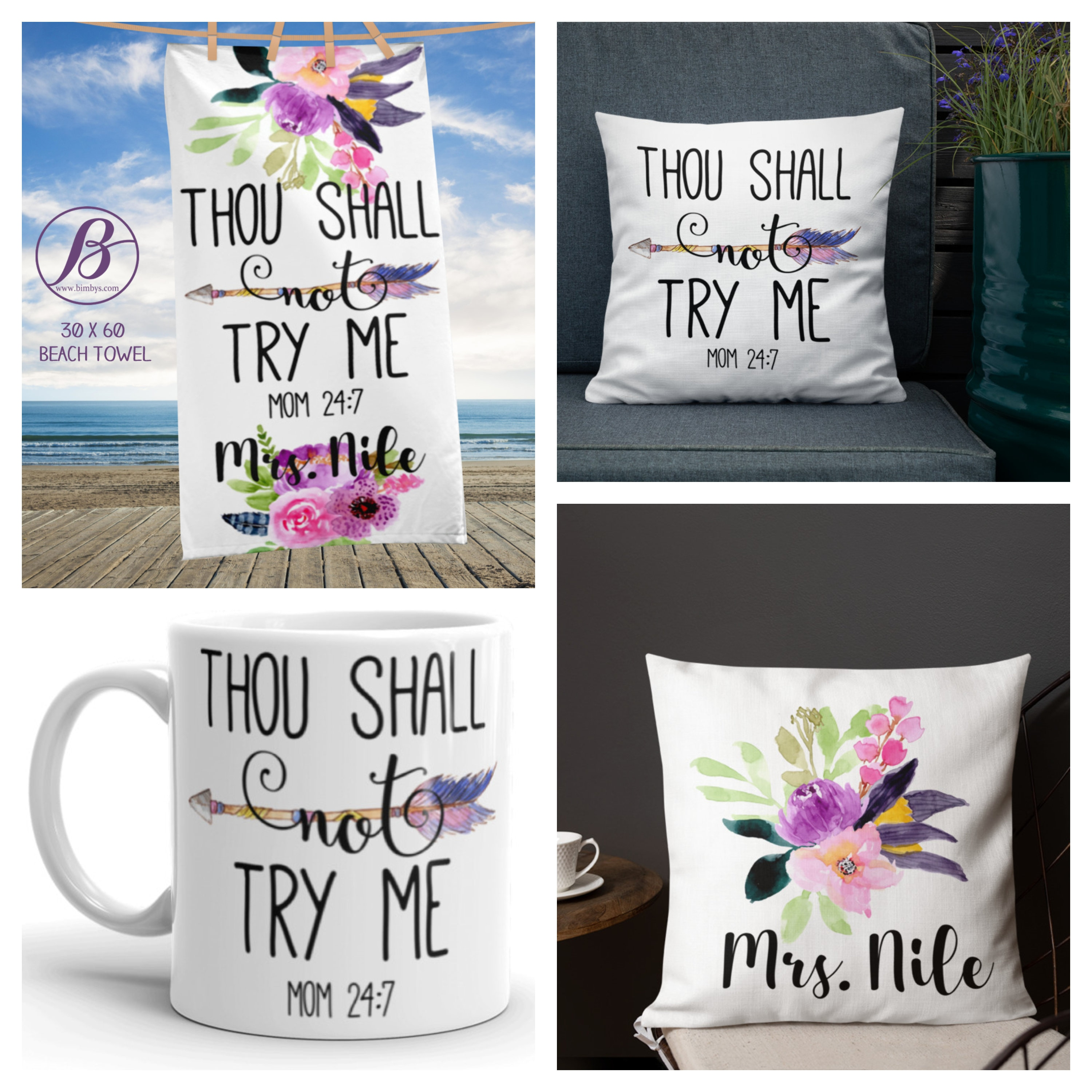 3a8ab47f186 Thou shall not try me - Custom Gifts for Moms - Funny Quotes Personalized  Gifts - gifts for mom