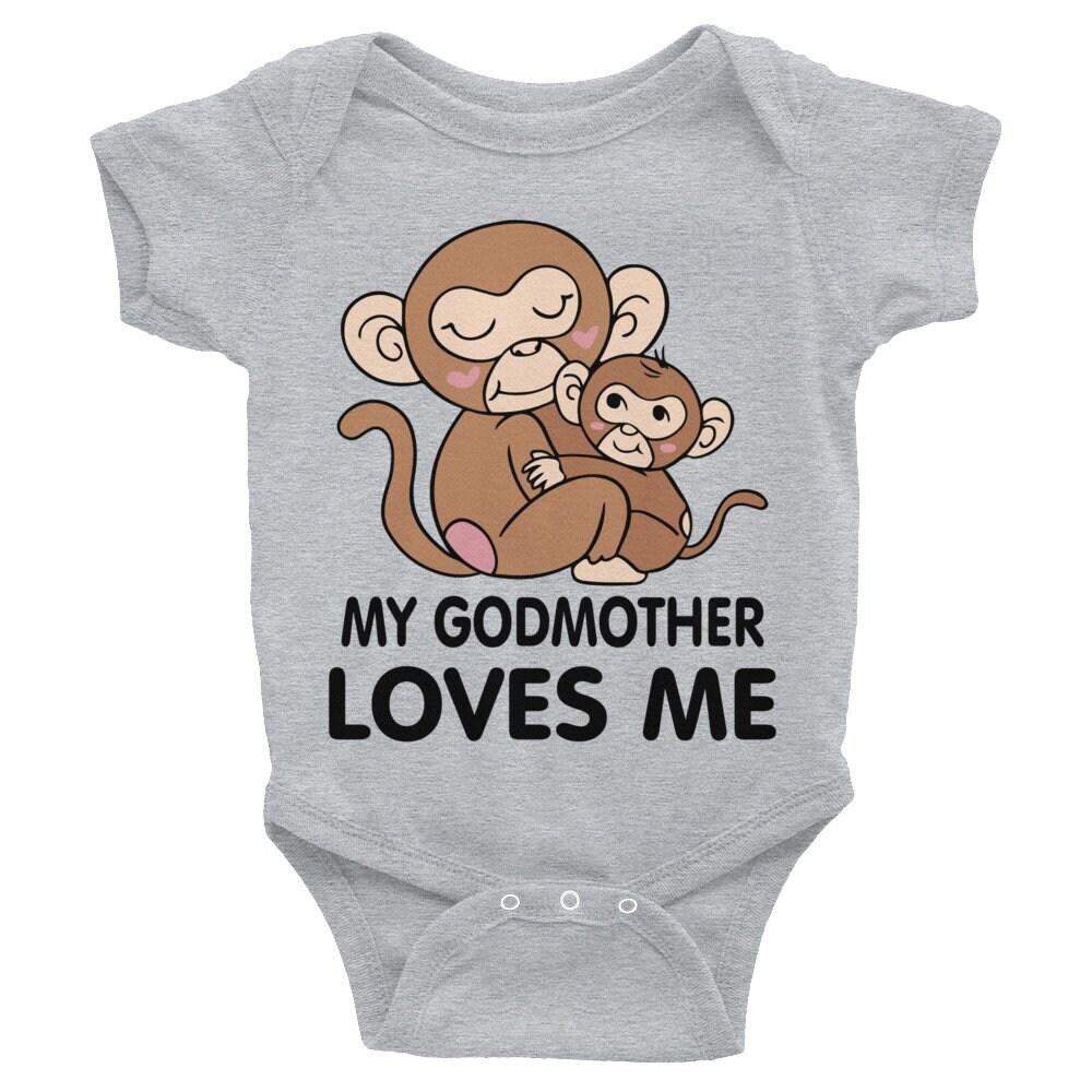 318453d3c My Godmother LOVES me Baby ONSIE , Godmother Bodysuit, Goddaughter  snapsuit, Godson shirt, Godmother bodysuit, Baptism sleepsuit, Godchild