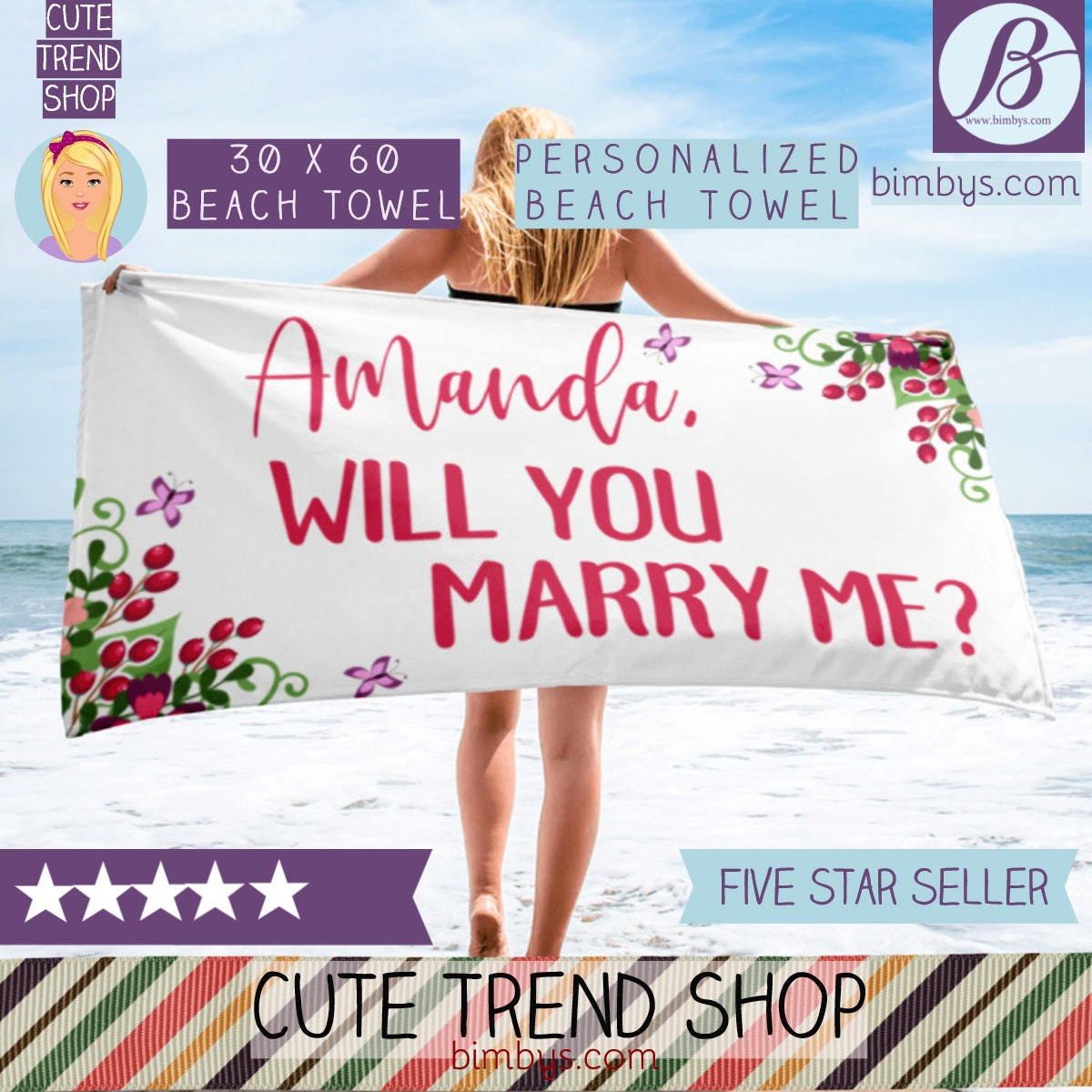 Wedding Proposal Ideas Beach: Unique Custom Beach Towel
