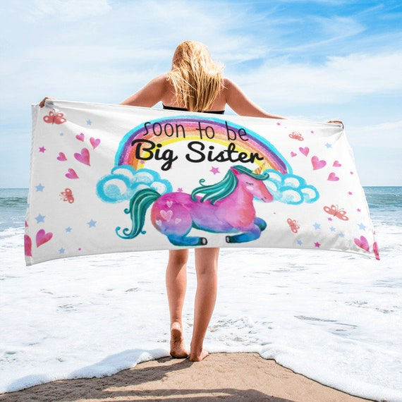 Soon to be Big Sister Unicorn Beach Towel, Big Sister Gifts, Big Sister announcement, Big Sister, Pregnancy announcement, Promoted to big