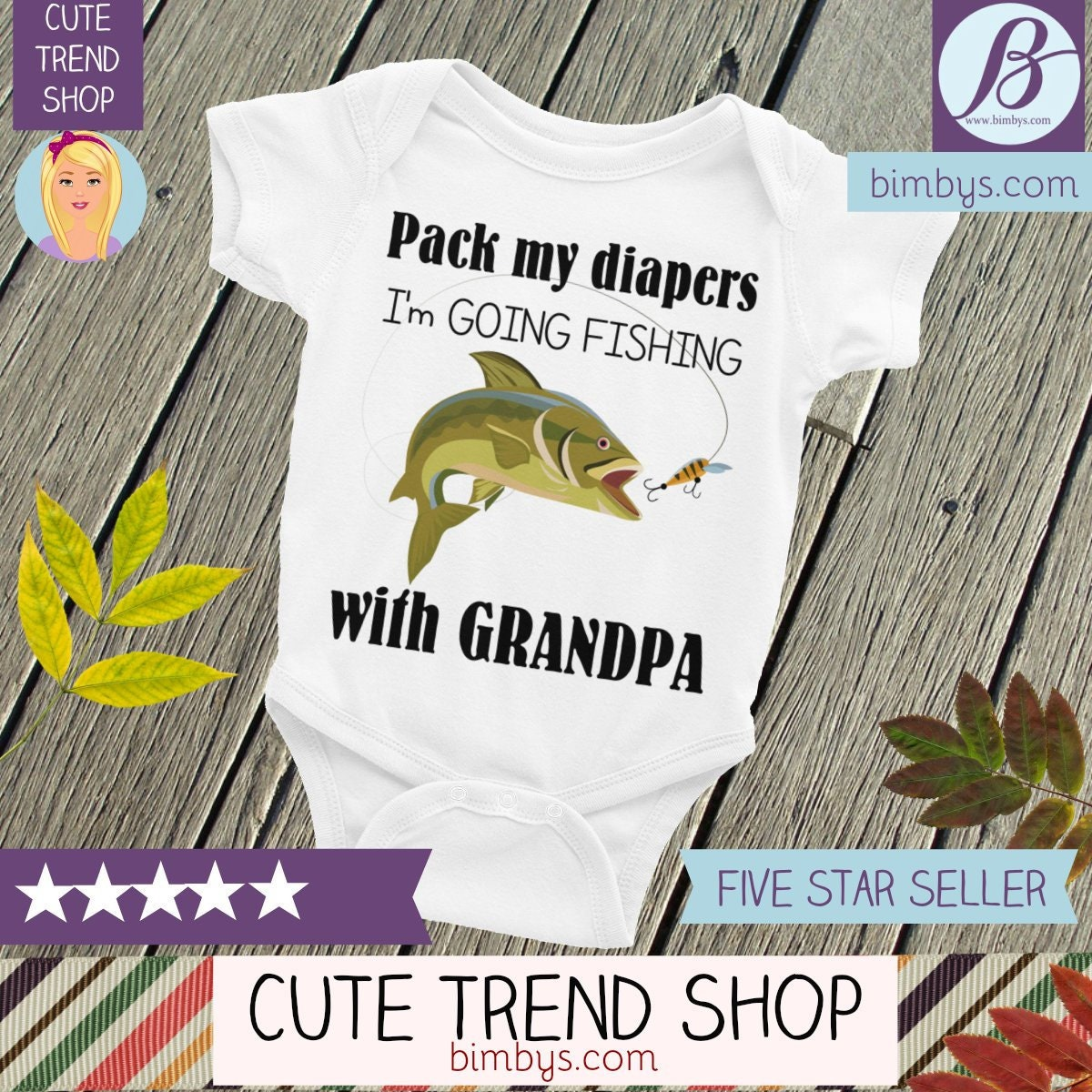 50a02ee78 Grandpa's Fishing Buddy Baby Nappy - Baby Onepiece, I'm Going Fishing with  Grandpa, Grandpa Nappy, Fishing Onsie, Fishing Buddy, Fishing