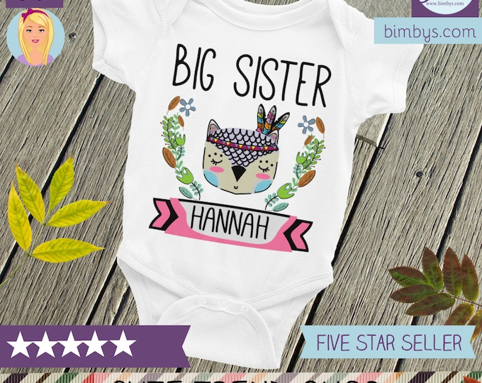 Custom Nappy, Big Sister Shirt, Personalized Onsie Baby Onsie, Snapsuit, Baby Girl Onsie, Big Sis Shirt, Big Sister Tee, Big Sister to be