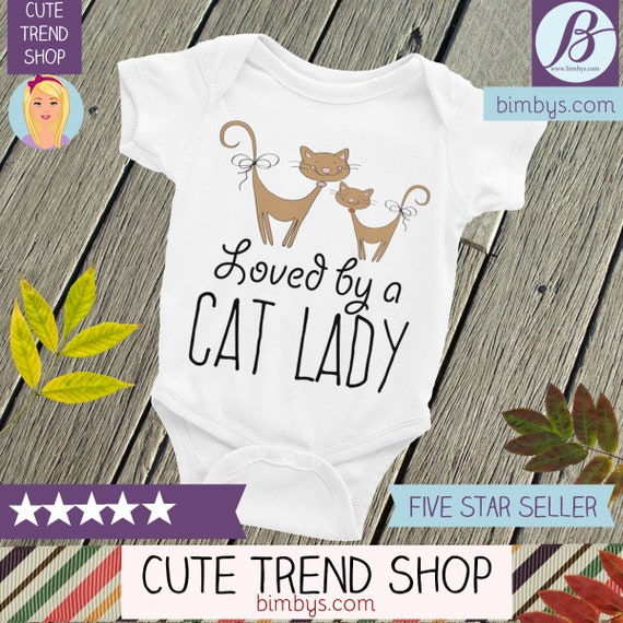 Cat Lady Bodysuit, Baby Gifts, Baby Shower, Baby Loved by a Cat Lady Funny Cat Lady , Baby Nappy with Cat Lady Mom Aunt or Grandma Cute Baby