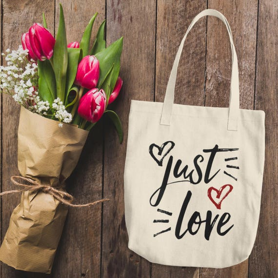 Just Love Cotton Tote Bag   Gym, Shopping and Travel Reusable Shoulder Tote Handbag   LOVE tote bag   Gift for Her, Bride and Bridesmaids