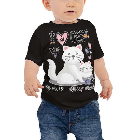I HEART cats Kids T-shirt,  I Love (Heart) my Cat Shirt, Cats Baby Jersey Short Sleeve Tee, I heart Cat Shirt, Luv Cats Kittens Cat Lover