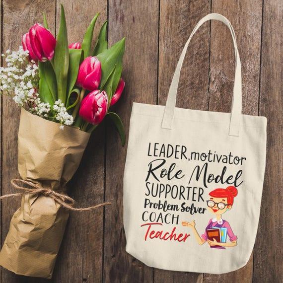 Teacher Tote Bag - Gift for Teacher - Canvas Tote Bag - Leader, Motivator, It Takes a Big Heart To Shape Little Minds - Gift Idea - Teacher