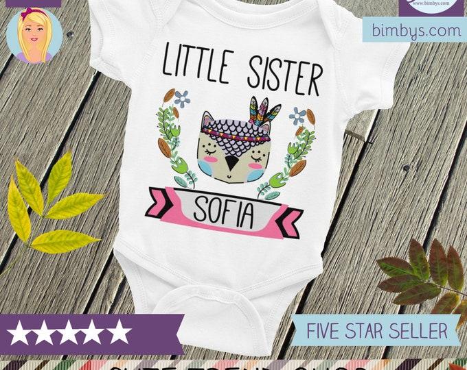 Little Sister baby bodysuit ,Custom Nappy, Personalized Little Sister, Boho Little Sister, Owl Sister, Little Sister Outfit, Little Sister