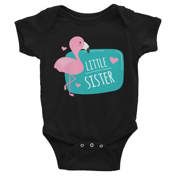 Flamingo Little Sister Infant Bodysuit, Little Sister Bodysuit, Baby Shower Gift, Infant Bodysuit, Little Sister T-Shirt, Little Sister Top