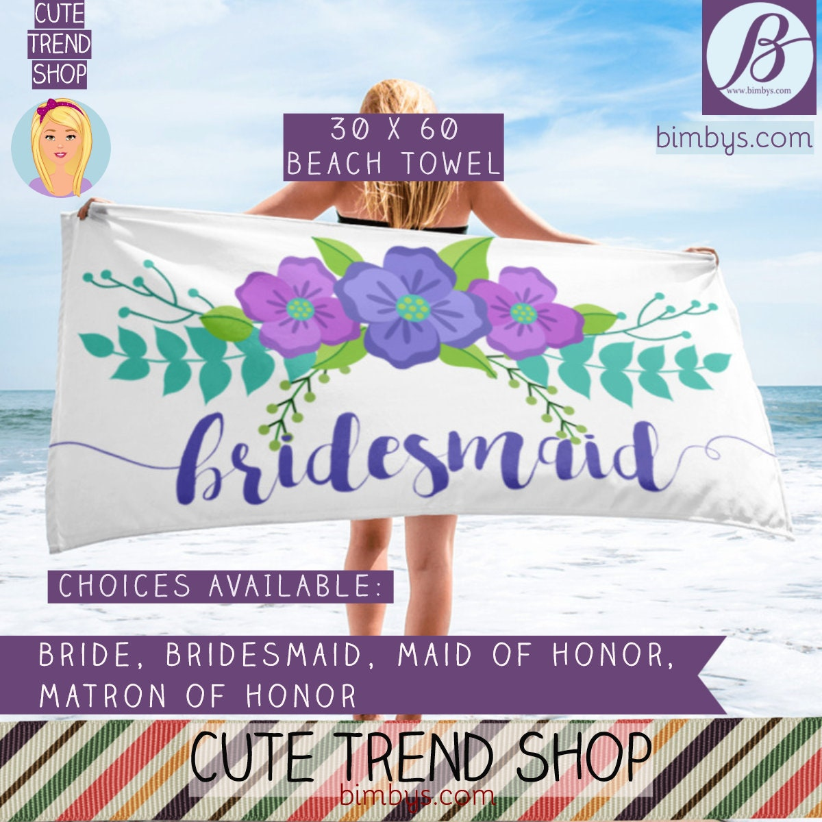 bride beach towel bride to be bridal shower gift wedding bachelorette beach towels bride maid of honor matron of honor and bridesmaid