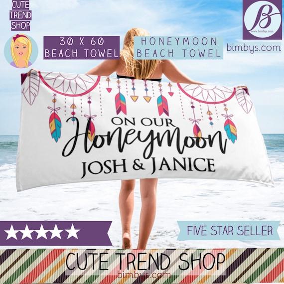Honeymoon Beach Towel -Honeymoon Gift Idea, Boho Beach Towels, Wedding Honeymon Beach Towel, Custom Wedding Towels, Personalized Beach Towel