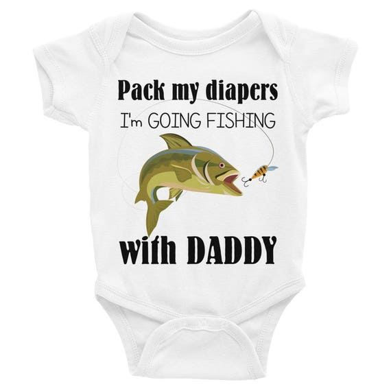 Daddy's Fishing Buddy Baby Nappy, Pack My Diapers I'm Going Fishing with Daddy Infant Bodysuit |Daddy's Fishing Buddy Baby Clothes, Fishing