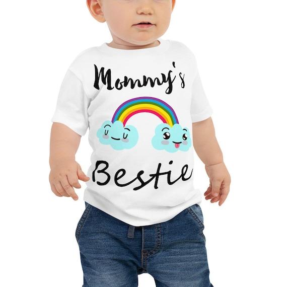 SALE Mommy's Bestie Baby Jersey Short Sleeve Tee - Rainbow and Clouds Print Baby and Toddler T-shirt