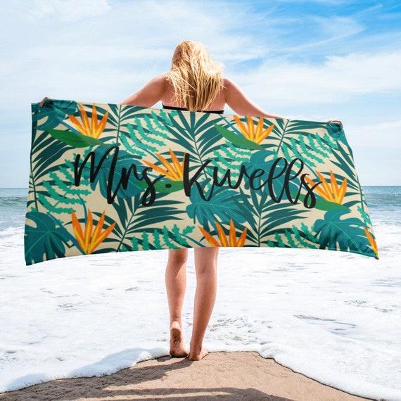 ON SALETropical Pattern Custom Beach Towel, Tropical Beach Towel, Custom Name Towel, Personalized Towels, Palm Leaves, Tropical vacation