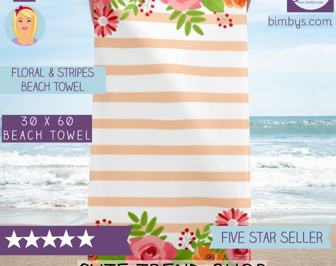 Elegant Flowers and Stripes Large Beach Towel