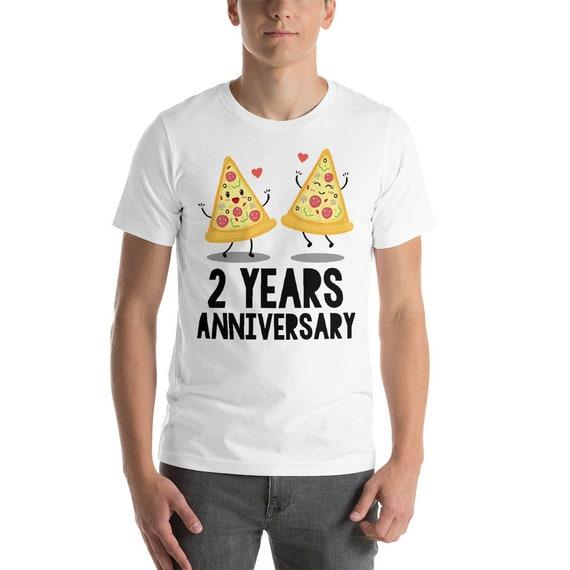 2 Years Anniversary Pizza Couple Short-Sleeve Unisex T-Shirt,2nd anniversary,Funny 2nd anniversary,Anniversary,Gift idea for 2nd anniversary