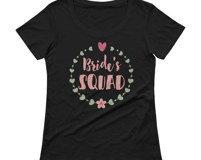 Bride's Squad Ladies' Scoopneck T-Shirt, Bride's T-Shirt, Bridesmaid Tops,Bachelorette party shirts, Bride Squad Shirt, Bridal party shirts,