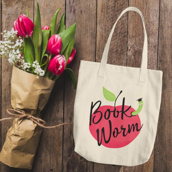 Book Worm Cotton Tote Bag   Cute Bookworm Reading Lines Tote Bag Natural   Natural Cotton Canvas Tote Bag   I Love Books Bookworm Tote Bag