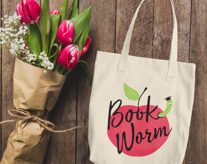 Book Worm Cotton Tote Bag | Cute Bookworm Reading Lines Tote Bag Natural | Natural Cotton Canvas Tote Bag | I Love Books Bookworm Tote Bag