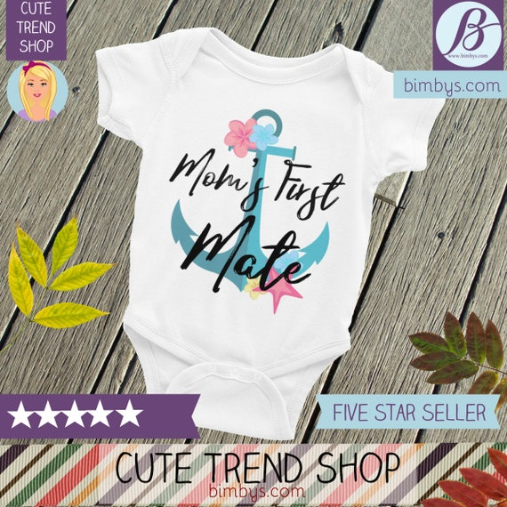 ON SALE!Mom's First Mate, Nautical Romper ,Sailor Baby Creeper, Anchor Creeper, Nautical Baby Shower, Nautical Baby, Nautical Baby Bodysuits